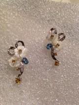 Vintage Mother of Pearl Rose gemstones Antique Sterling Silver Stud Earrings - $135.58