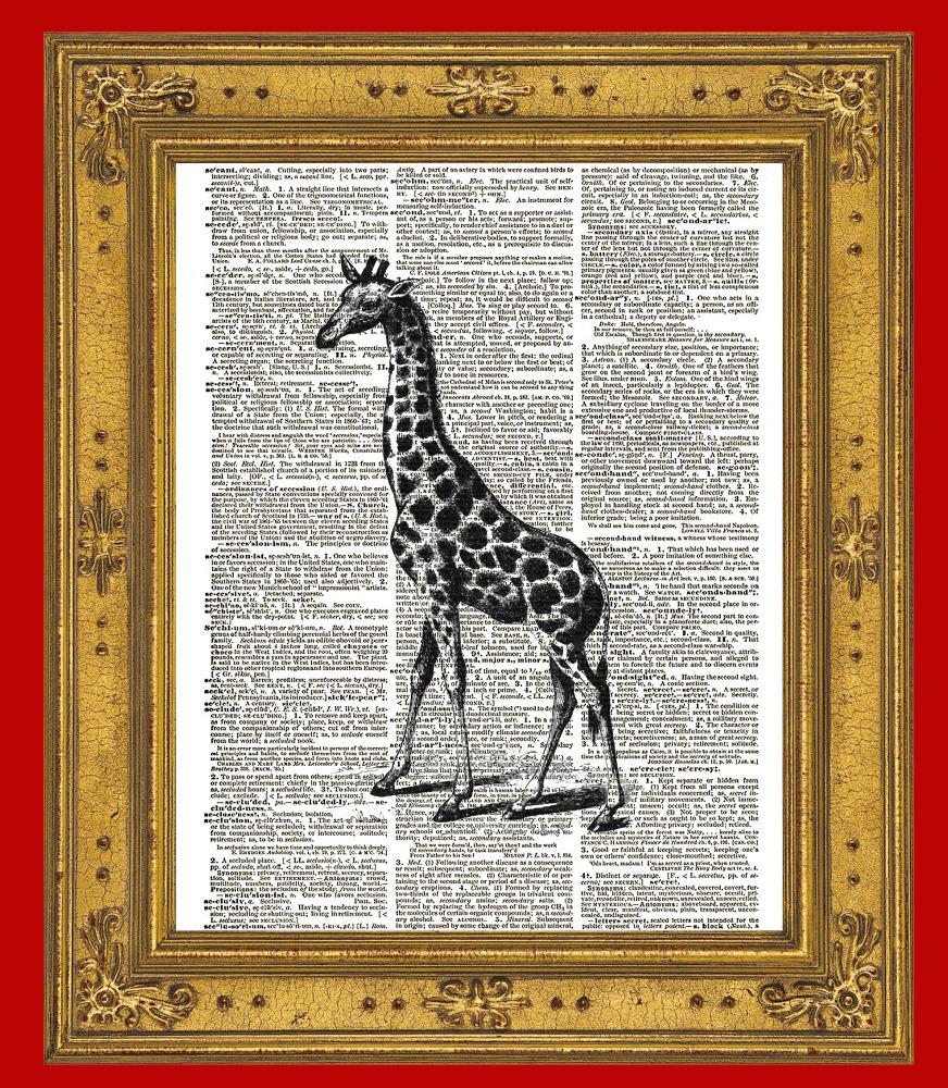 Giraffe Art African Animal Vintage Dictionary Art Print No. 0035