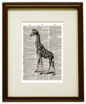 Giraffe Art African Animal Vintage Dictionary A... - $12.00