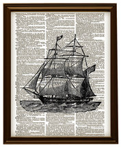 SAILING SHIP Antique Vintage Dictionary Page Ar... - $12.00
