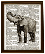 ELEPHANT Circus African Animal Upcycled Vintage... - $12.00