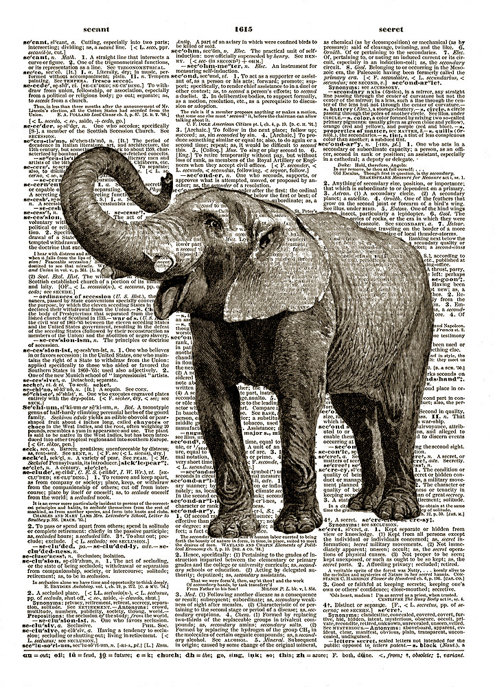 ELEPHANT Circus African Animal Upcycled Vintage Dictionary Art Print No. 0019