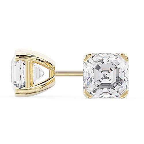 14k Yellow Gold Asscher Shape Diamond Stud Earrings 1.50 Carats