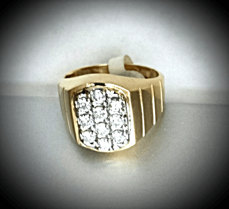 MEN'S =DRESS 4 SUCCE$$= FINE DIAMONDs 14K YELLOW GOLD RING (.90 CTw) 'New'