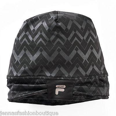 FILA SPORT Chevron Slouchy Beanie Cap Hat black Women NEW