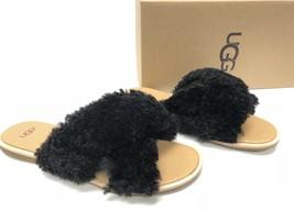 UGG Australia BLACK CURLY SHEEPSKIN LEATHER JONI SLIDE SANDALS WOMEN'S 1... - $79.99