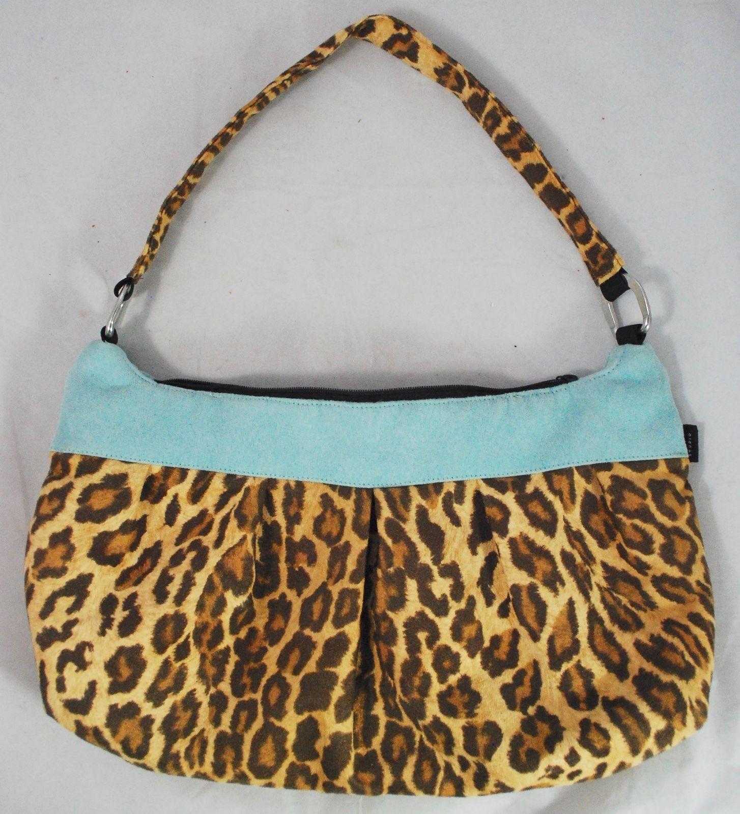 "LISA LILL STUDIO Leopard Print Hobo Bag Purse - 13""x8"" - Tapestry Interior"