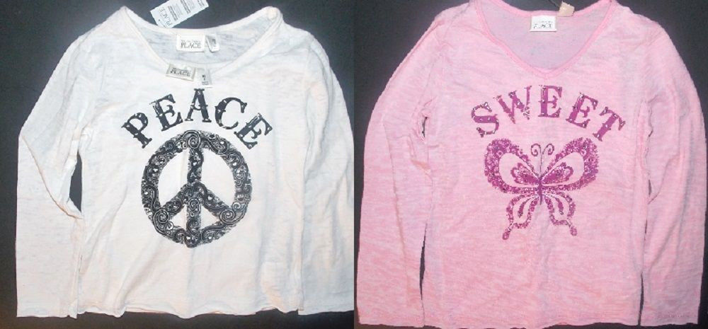 The Children's Place Girls Long Sleeve 2 Piece Shirts Sizes XS 4 and Sm 5-6 NWt
