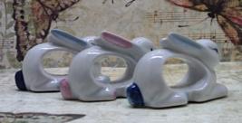 Vintage set of 3 Rabbit Napkin Rings // Easter/Spring Tableware // Pink ... - $10.00