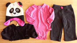 Girl's Size 12 M Months 4 Pc Black TCP Cardigan, Pink Top, JB Pants & Panda Hat - $33.00
