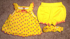 Girl's Size 0-3 M Months 3 Pc Fisher Price Yellow Strawberry Dress, Bloo... - $14.90