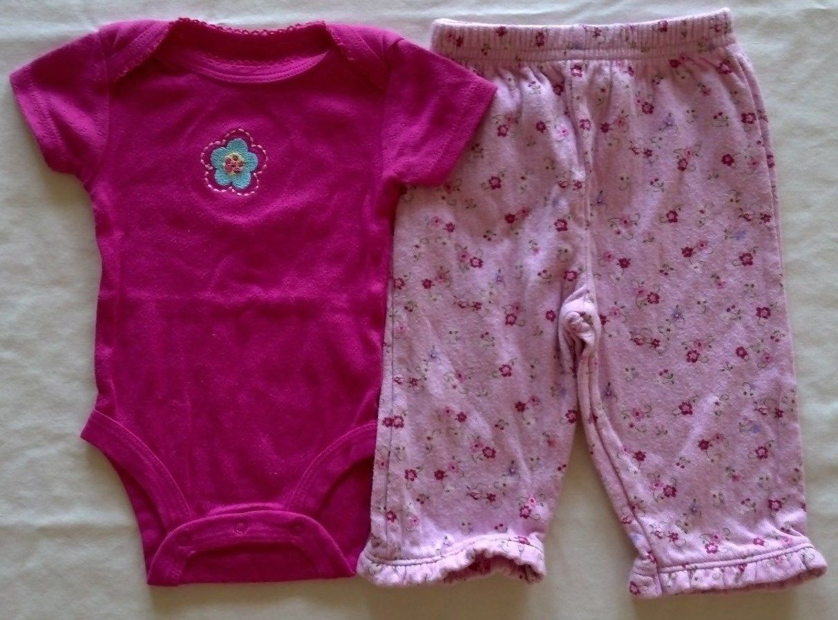 Girl's Size 0-3 M Months Two Piece Outfit Pink Floral Embroidered Top & Pants