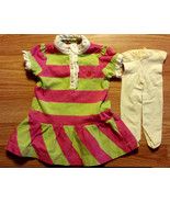Girl's Size 0-3 M Months Pink/ Green Striped Baby Gap Ruffled Dress + Ti... - $12.65
