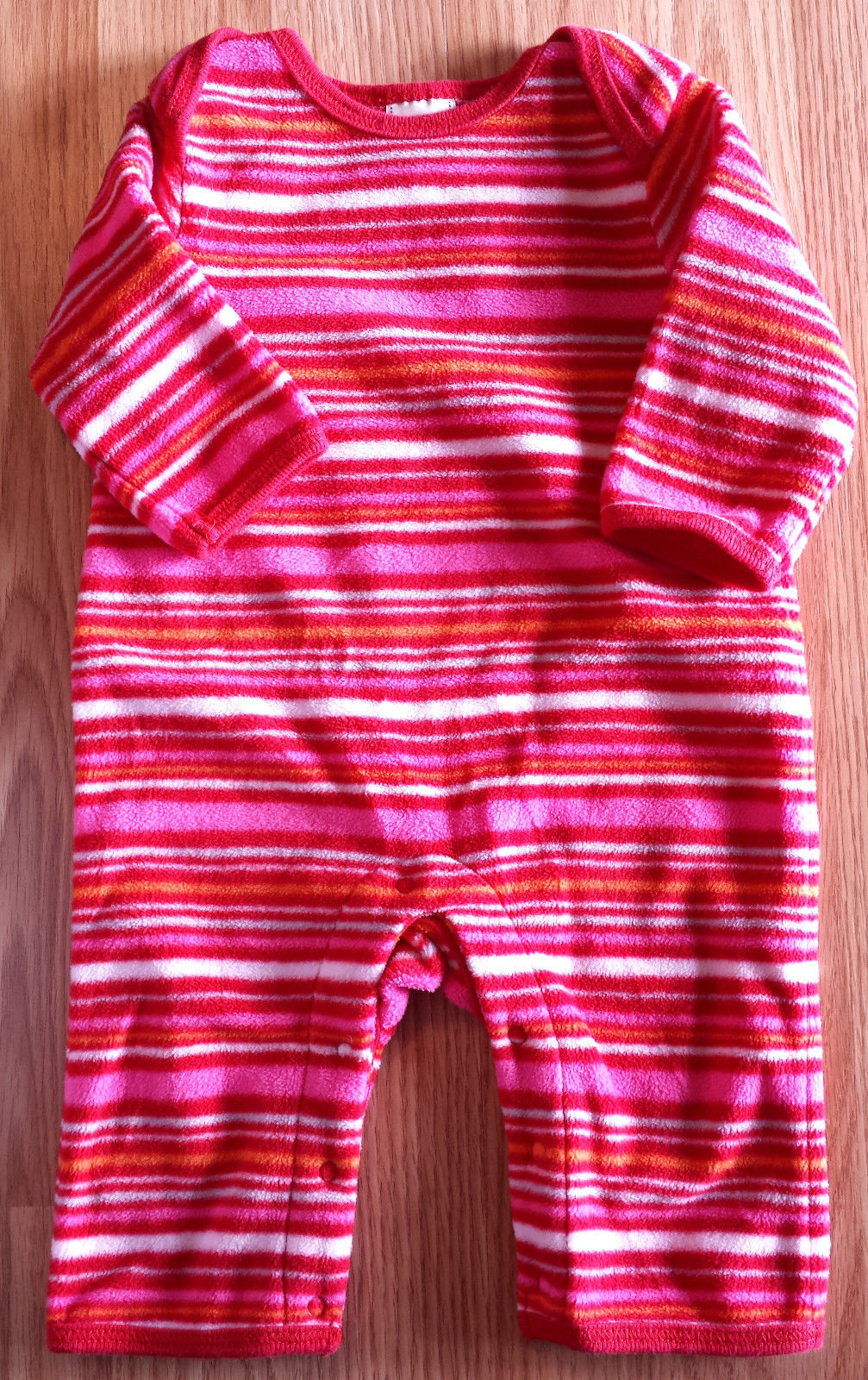 Girl's Size 0-3 M Months Old Navy Pink/ Red/ White Striped Fleece Pants Romper