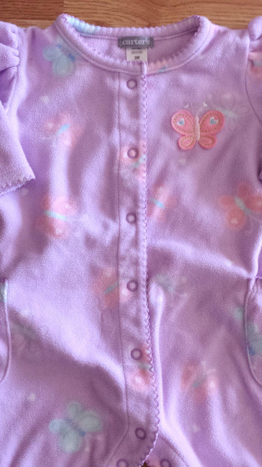 Girl's Size 0-3 M Months One Piece Carter's Purple Fleece Butterfly Pants Romper