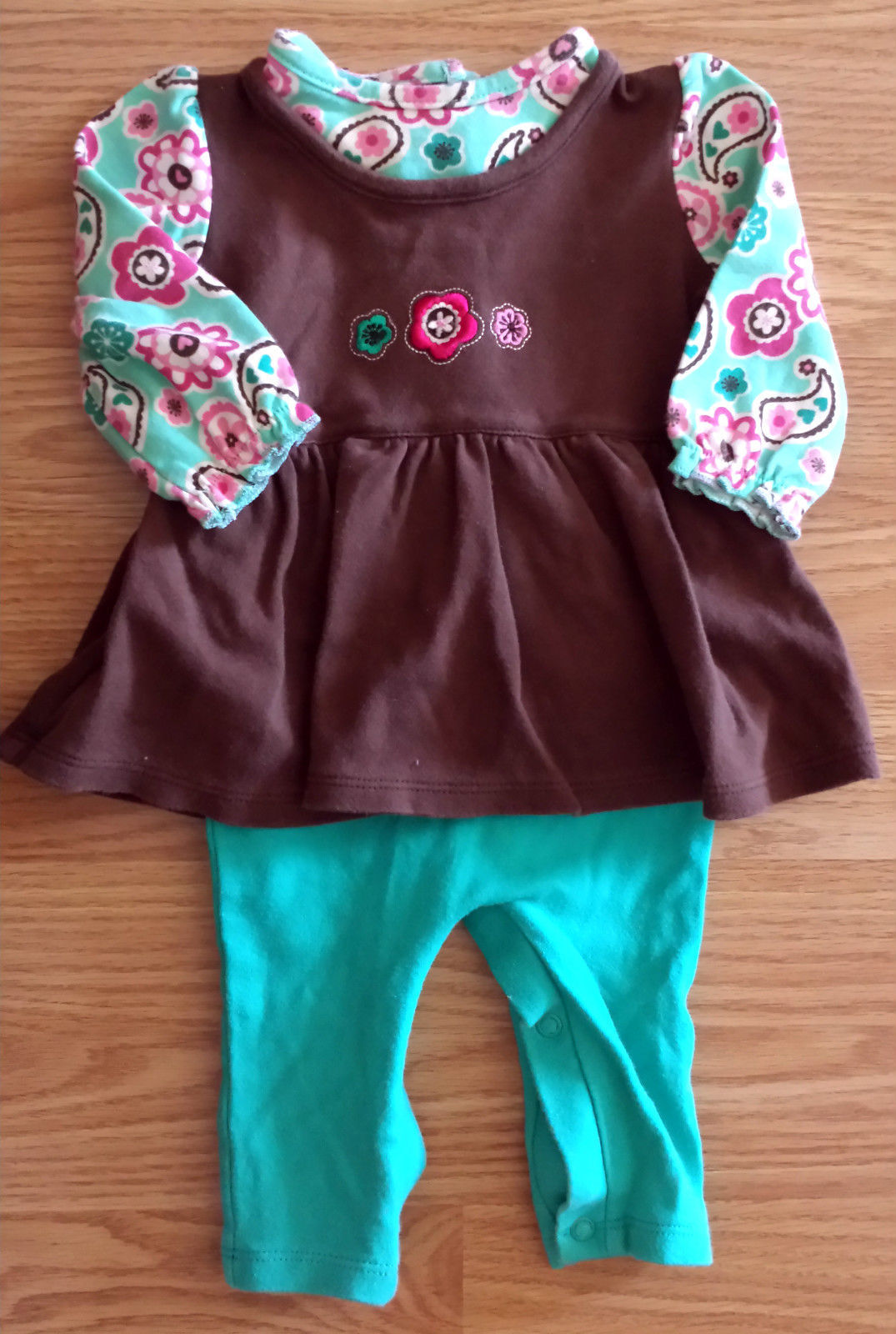 Girl's Size 0-3 M Months One Pc Okie Dokie Teal Brown Floral Design Pants Romper