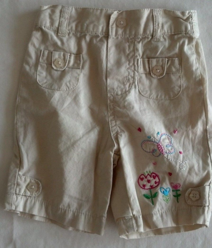 Girl's Size 0-3 M Months Two Piece Outfit White Floral Top & Butterfly Capris