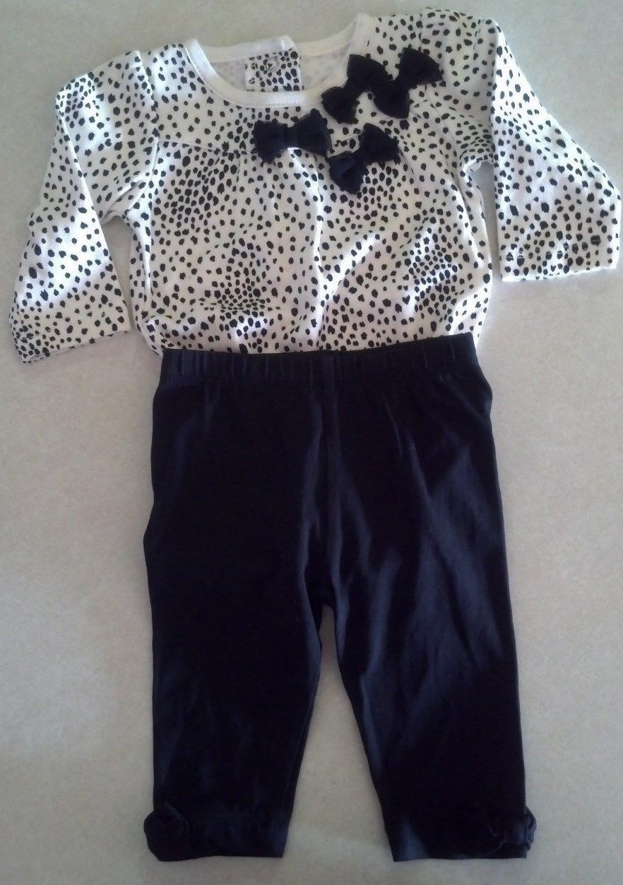 Girl's Size 0-3 M Months Two Piece Outfit W/ Bows Cream Top & TCP Legging Pants
