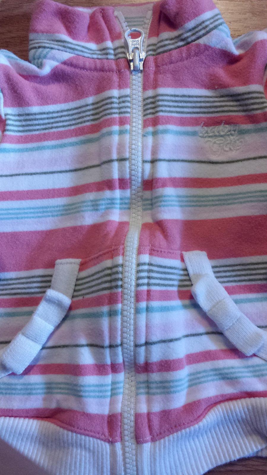Girl's Size 0-3 M Months 3 Pc Peach Striped Baby Gap Jacket, Denim Jeans + Top