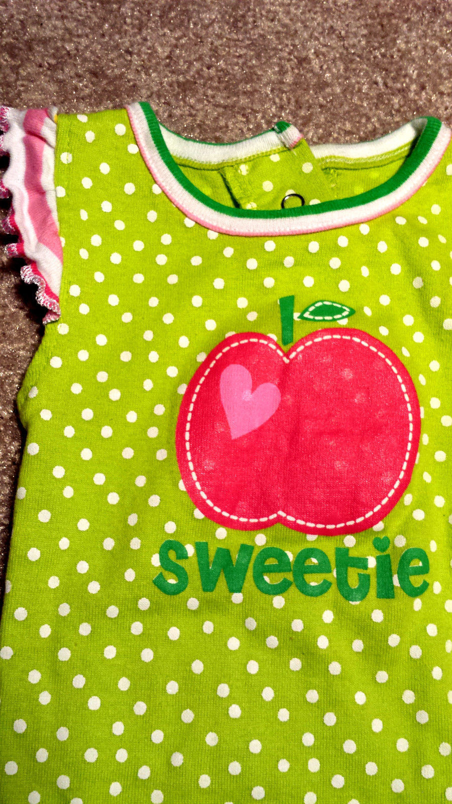 Girl's Size 0-3 M Months 3 Pc Green Pink Apple Sweetie Top, Hat & Bloomer Shorts