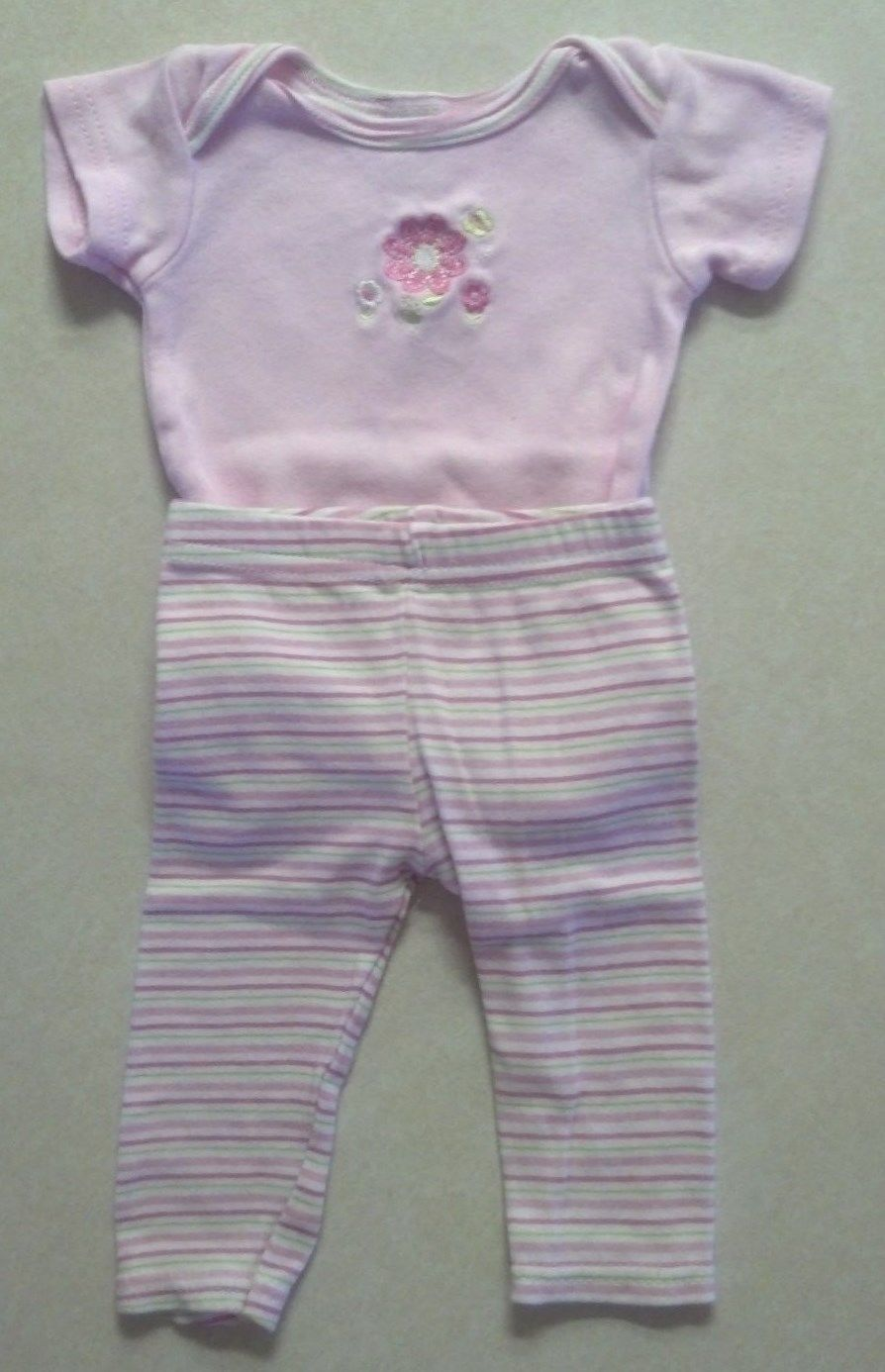 Girl's Size 0-3 M Months Two Piece Cutie Pie Outfit Floral Embroid. Top & Pants