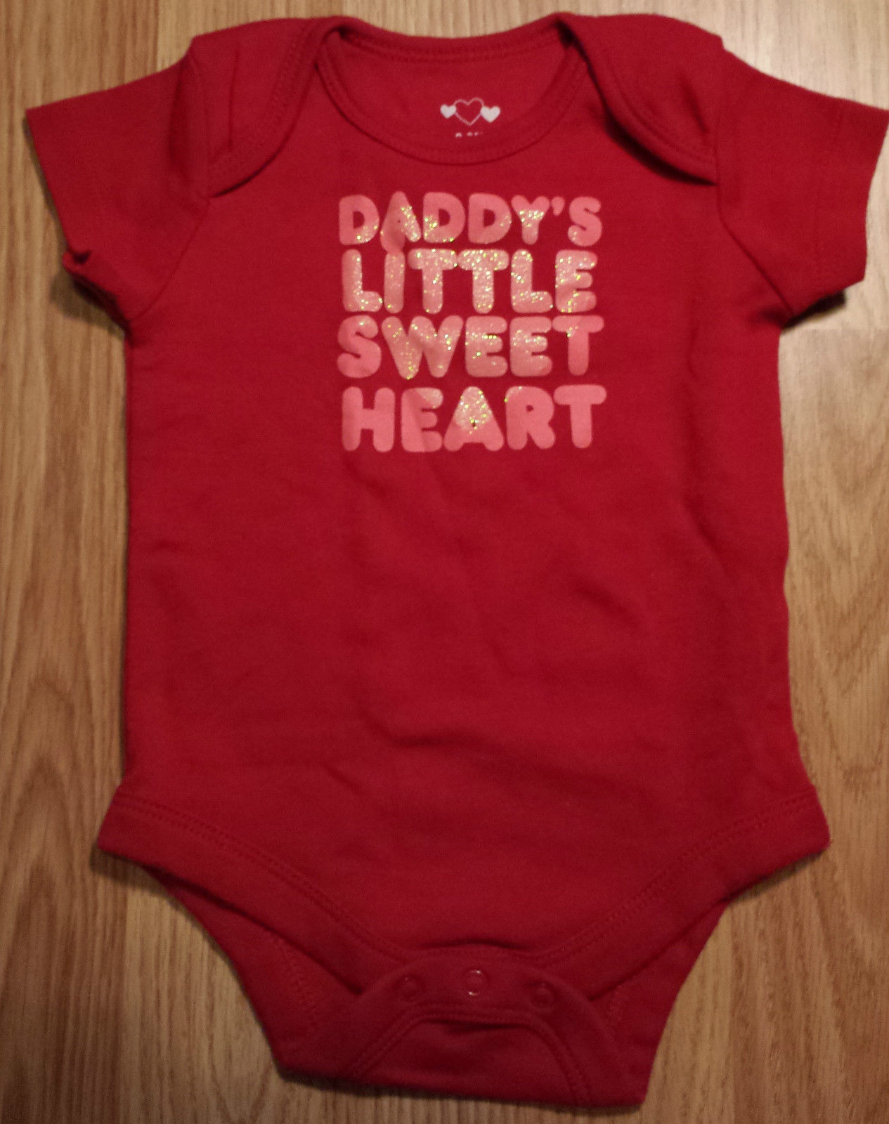 "Girl's Size 0-3 M Months Red Glitter ""Daddy's Sweetheart"" Top, Gap Pants & HB"