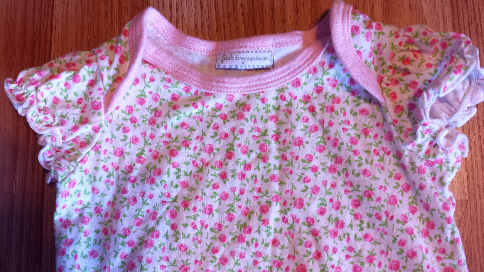 Girl's Size 0-3 M Months Two Pc First Impressions White Floral Top & Pink Pants