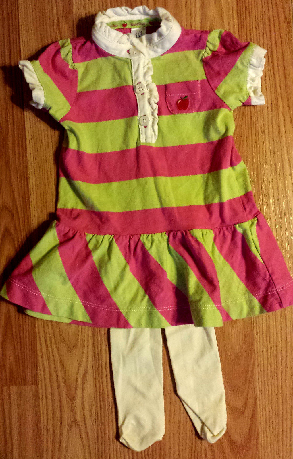 Girl's Size 0-3 M Months Pink/ Green Striped Baby Gap Ruffled Dress + Tights