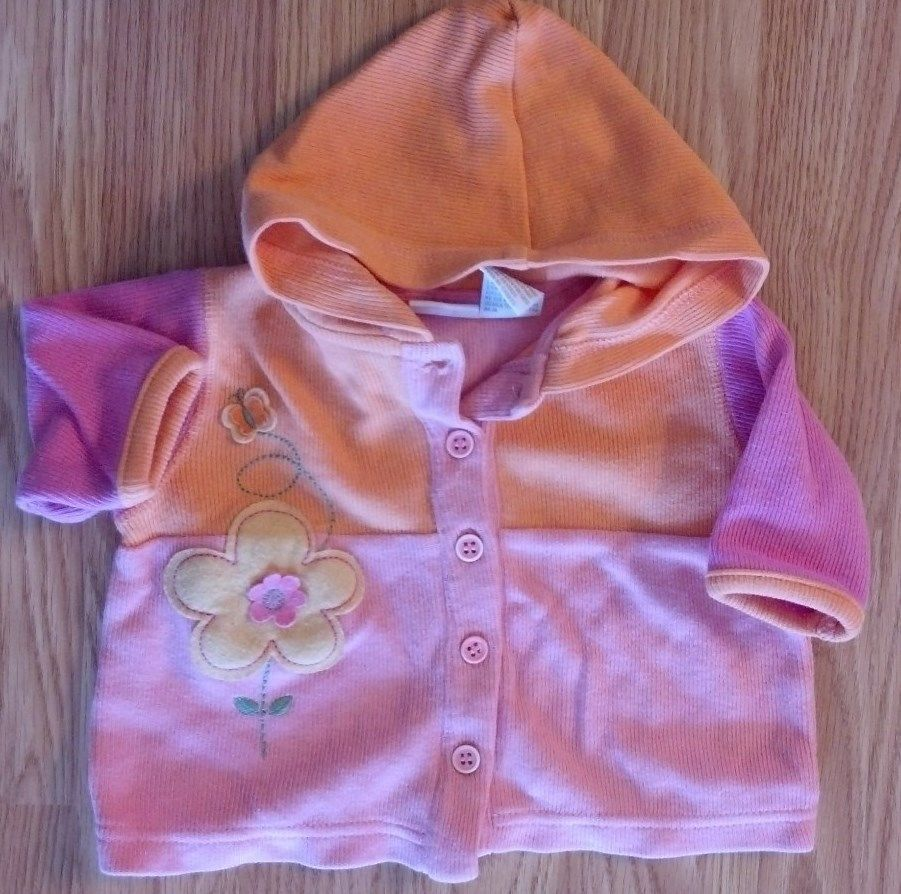 Girl's Size 0-3 M Months 3 Pc Pink Floral Hooded Jacket, White Top & Pink Pants