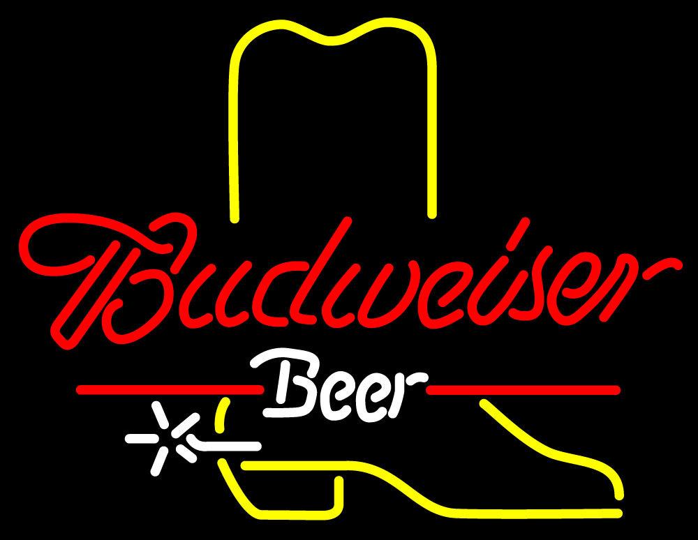 Budweiser cowboy boot neon sign 16  x 16