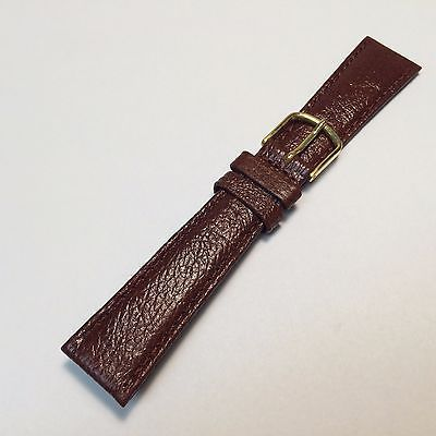 New Genuine Brown Leather Watch Band Strap ~20mm~ Gold Tone Buckle ~By West Band