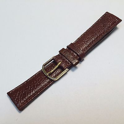New Genuine Brown Leather Watch Band Strap ~16mm~ Gold Tone Buckle ~By West Band