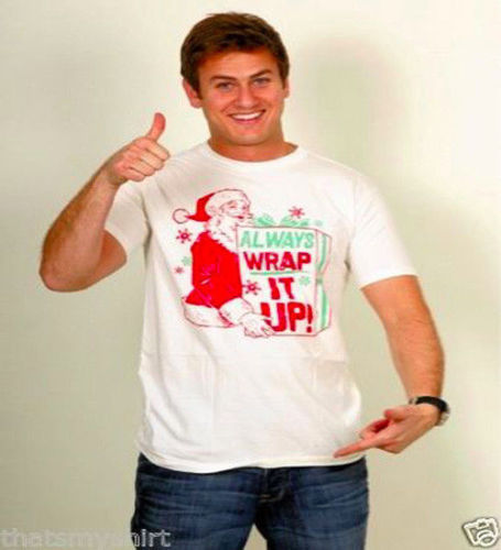 New Authentic Junk Food Always Wrap It Up Adult T-Shirt Christmas Size Large