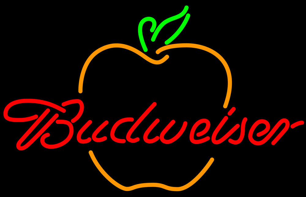Budweiser great apple neon sign 16  x 16