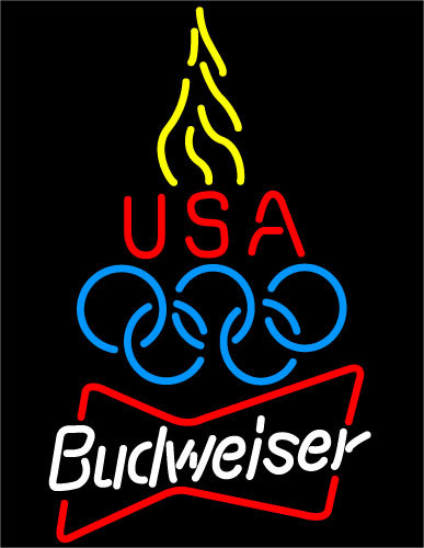 Budweiser olympic torch neon sign 16  x 16