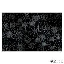 HALLOWEEN Party Decoration Prop Black SPIDER WEB Backdrop Photo Mural Ba... - $17.95