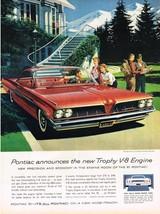 Vintage 1961 Magazine Ad Pontiac Bonneville Announces The New Trophy V-8 Engine - $5.93