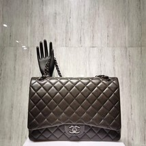 AUTH CHANEL QUILTED LAMBSKIN LEATHER MAXI CLASSIC DOUBLE  FLAP BAG SHW