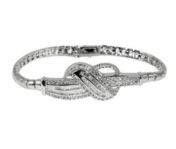 Glitzy Round And Baguette CZ Front Fancy Swirl Style Rhodium Link Bracelet - $49.49