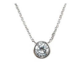 Dainty 1ctw Bezel Set AAA  Cubic Zirconia Rhodium Plated Pendant Necklace - $14.84