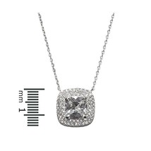 DAINTY PAVE CUSHION CUT CUBIC ZIRCONIA HALO RHODIUM NECKLACE - $27.72