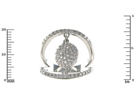 Glitzy Pave AAA Cubic Zirconia Round Disk Rhodium Knuckle Ring - $24.99