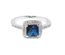 Dainty Square Pave Clear And Blue Sapphire AAA Cubic Zirconia Halo Ring - $22.00