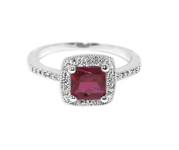 Dainty Square Pave Clear And Ruby Red AAA Cubic Zirconia Halo Ring - $22.00