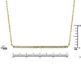 Pave AAA  Cubic Zirconia 40mm Bar Gold Plated Pendant Necklace - $21.78