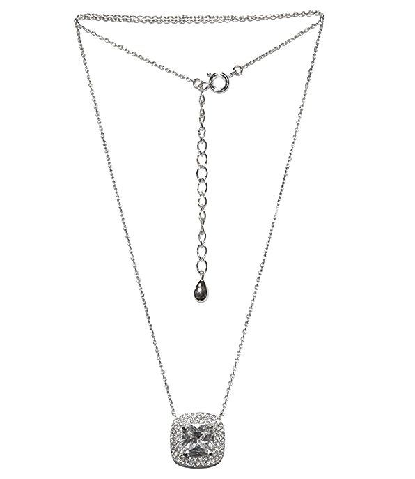 DAINTY PAVE CUSHION CUT CUBIC ZIRCONIA HALO RHODIUM NECKLACE