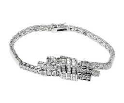 Glitzy Round And Baguette CZ Front Tassel Style Rhodium Link Bracelet - $49.49