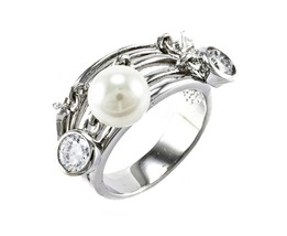 Glitzy Pave AAA Bezel Cubic Zirconia And Pearl Charm Dangle Rhodium Band Ring - $24.99