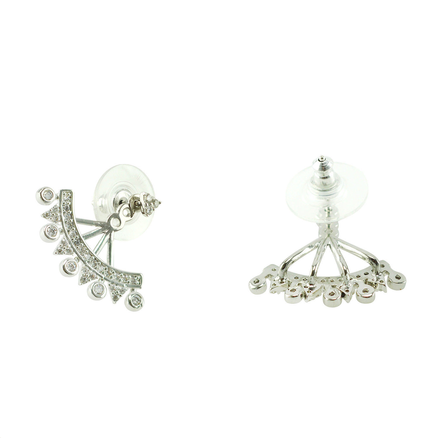 Pave Statement AAA Cubic Zirconia Rhodium Ear Jacket Earrings;HOT