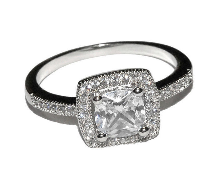 Dainty Square Pave Clear AAA Cubic Zirconia CZ Halo Ring-Rhodium Plated